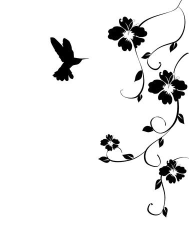 humming: vector floral con tarjeta colibr�
