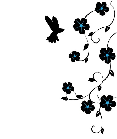 벌새 벡터 꽃 카드