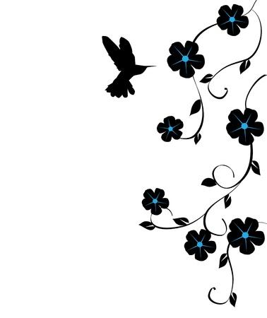 carte de vecteur floral avec des colibris Illustration