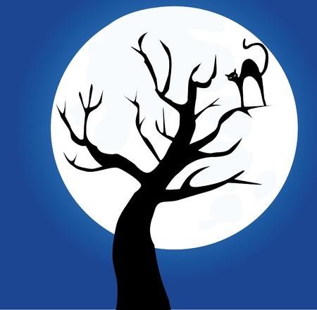 silueta de gato: árbol con el gato