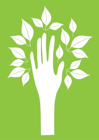 tree hand with leaves Vector