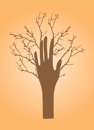 vector tree hand with branches Vector