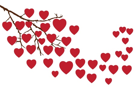 vector branch with red hearts Stock Vector - 17243772