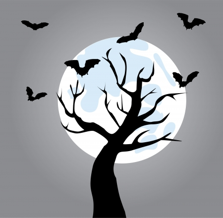 vector tree with bats in the moon light Vector