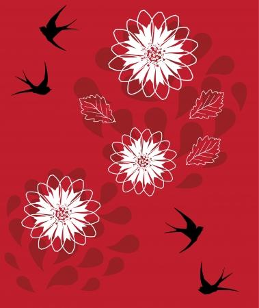 ツバメとベクトル花の背景  イラスト・ベクター素材