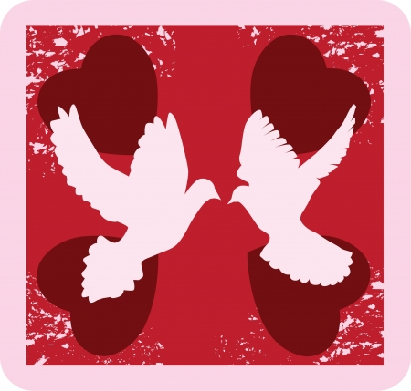 vector valentine doves background Stock Vector - 17243787