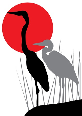 vector heron silhouettes and red moon Vector