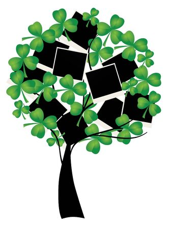 vector clover tree with blank photos for St Patrick day