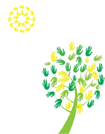 vector tree with hand prints and sun Vector