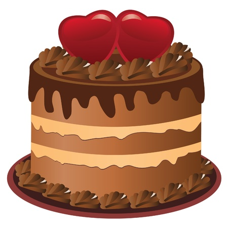 vector cake with hearts Vector