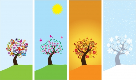 season banners with season trees Vector