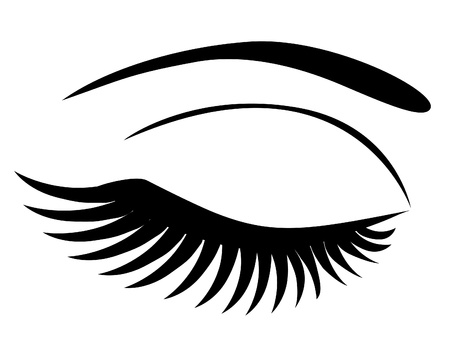 make up woman:  eye closed with long lashes Illustration
