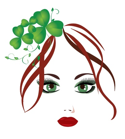 red clover:  red head girl with shamrock in hair