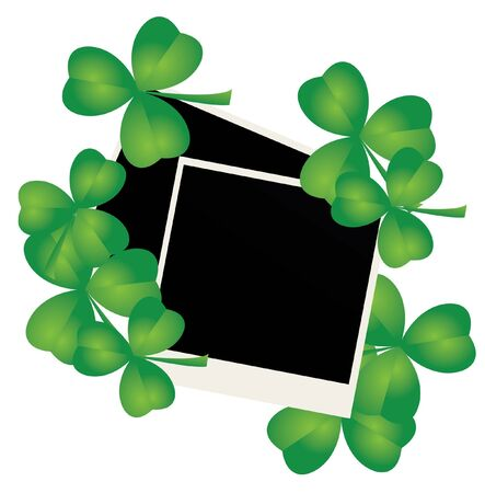 blank photos with clover leaves Stock Vector - 18093656
