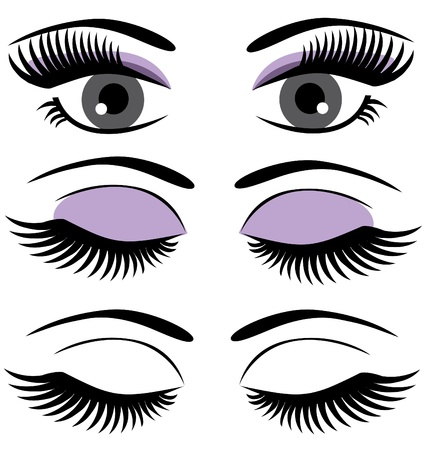 eye lashes: vector eyes with long lashes