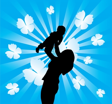 mother holding baby: vector happy mother and child