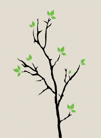 vector tree with green leaves Ilustracja