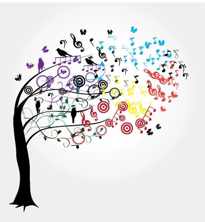 vector tree with musical notes
