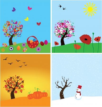 vector season banners with season trees Stock Vector - 20052131