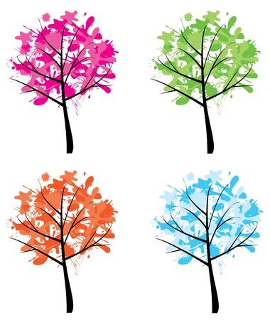 vector ink season trees Ilustração