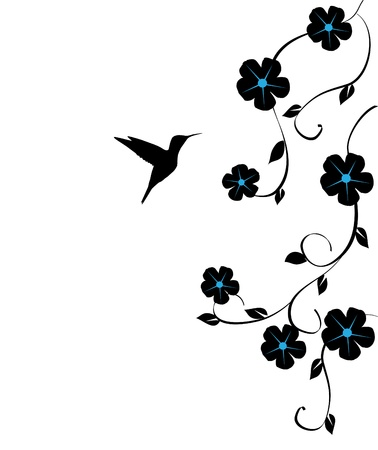 vector floral card with hummingbird Vettoriali
