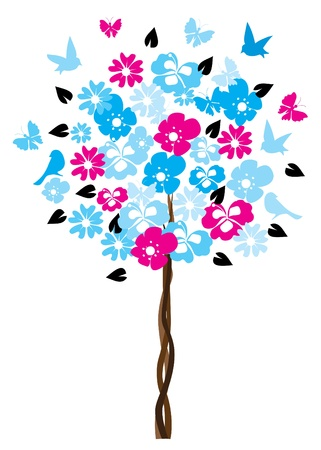 plant tree: vector floral tree Illustration
