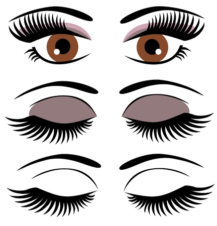 eyes with long lashes and make up Illustration
