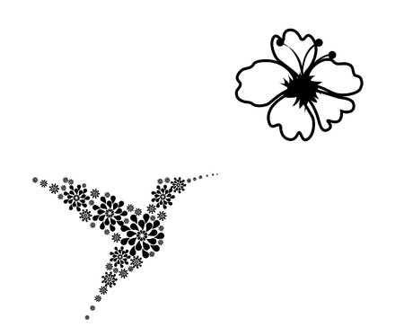 humming: floral card with hummingbird