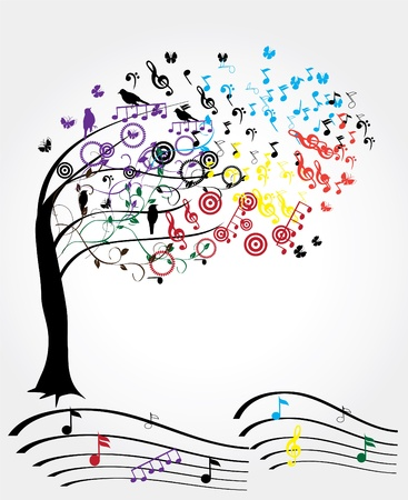 tree with musical notes and birds