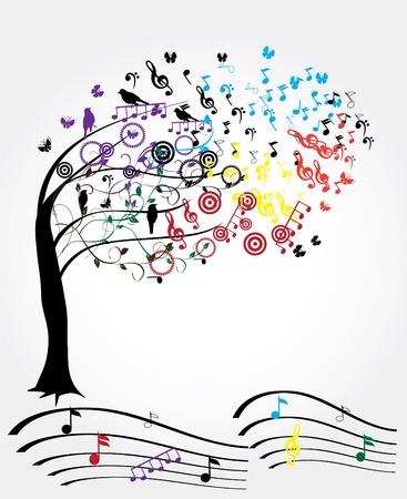 boom met muzieknoten en vogels Stock Illustratie