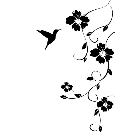 floral card with hummingbird