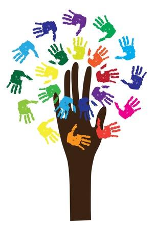 vieze handen: vector boom met handen