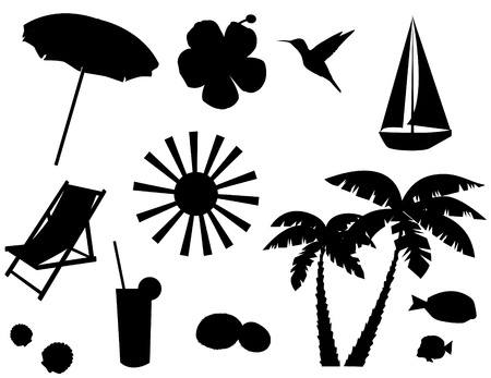 vector beach icons or elements silhouettes Vectores