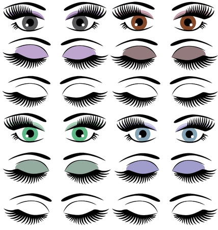 set of eyes with make up Vectores