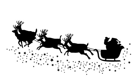 Santa Claus flying with deer