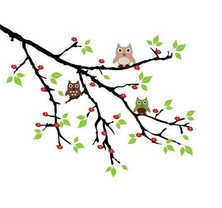 vector owls on the branch Stock Vector - 21892146