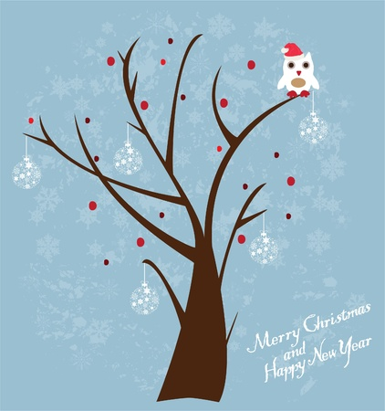 tree with owl in santa hat Vector