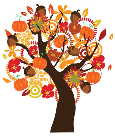 vector tree with fall elements Vector