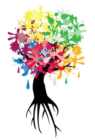 ink stain: vector tree with ink spots and roots Illustration