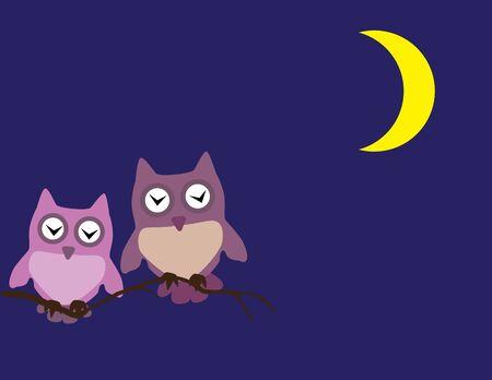 vector owls sleeping in the tree