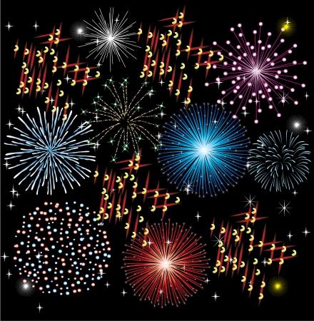 vector fireworks on dark background Illustration