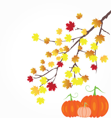 vector tree branch with fasll leaves and pumpkins