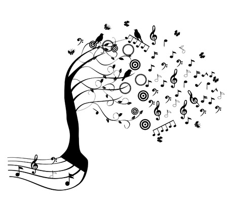 music: vector music tree with roots