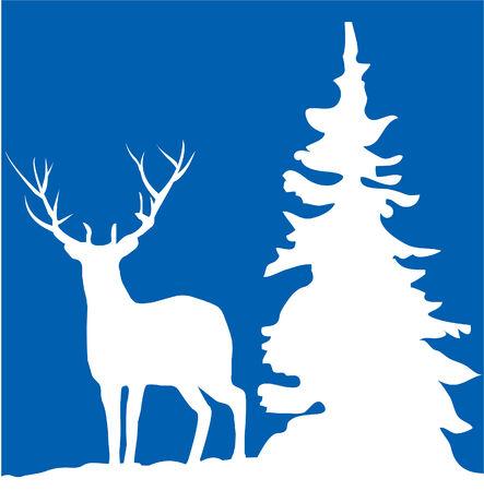 Christmas card vettoriale con cervi Archivio Fotografico - 22779122