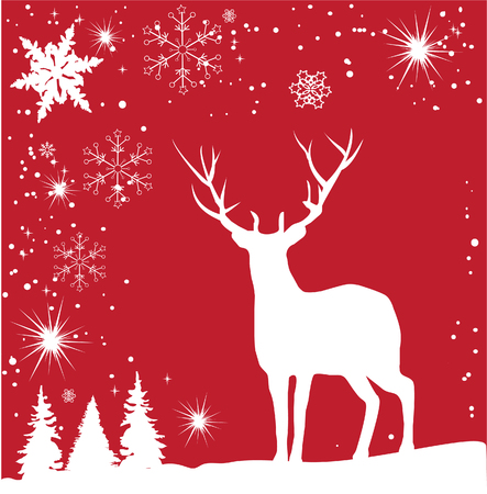 vector reindeer card with snowflakes and trees Illustration