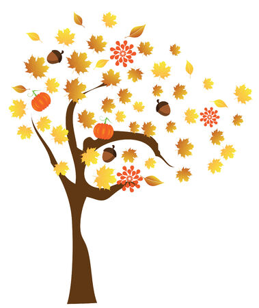 vector tree with fall elements Stock Vector - 22779126