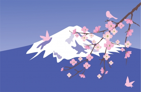 vector cherry blossom with mountain Fuji