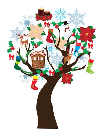 vector new year tree with elements Vector