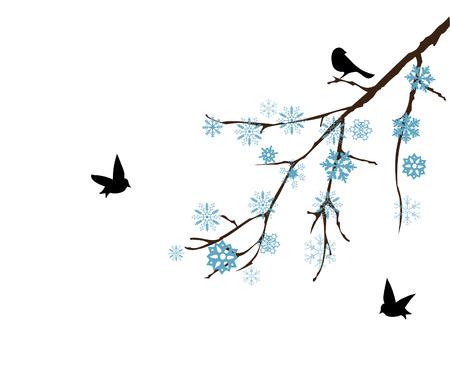 vector snow branch with birds Vector