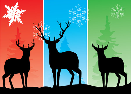 silhouettes: vector deer silhouettes